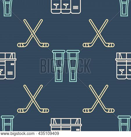 Set Line Locker Or Changing Room, Ice Hockey Sticks And Crutch Or Crutches On Seamless Pattern. Vect