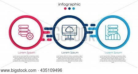 Set Line Server And Gear, Cloud Technology Data Transfer And Server, Data, Web Hosting. Business Inf
