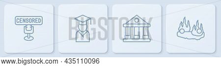 Set Line Censored Stamp, Courthouse Building, Graduate And Graduation Cap And Burning Car. White Squ