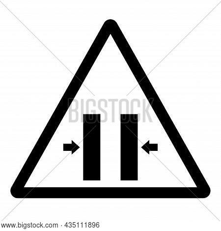 Crush Hazard Closing Mold Symbol Sign, Vector Illustration, Isolate On White Background Label .eps10