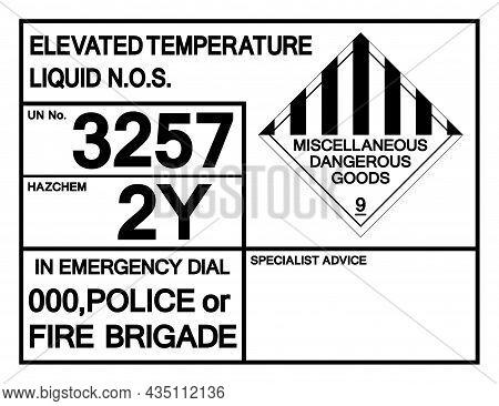 Elevated Temperature Liquid Un 3257 Symbol Sign, Vector Illustration, Isolate On White Background, L
