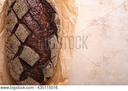 Freshly Baked Homemade Bread On Artisan Sourdough Rye On Old Light Brawn Stone Or Concrete Backgroun