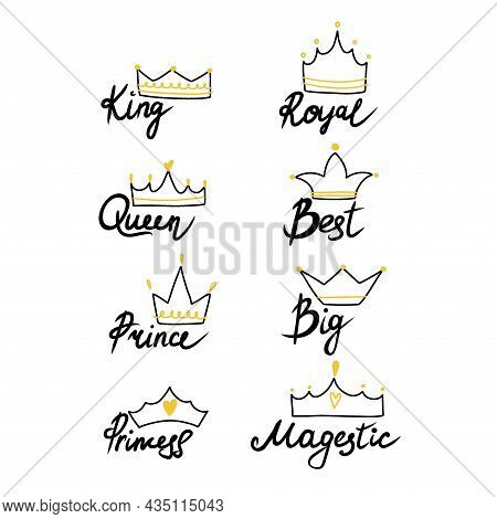 Crown Set. Hand Drawn King And Queen, Prince And Princess Head Accessory, Line Emblem Or Badge Templ