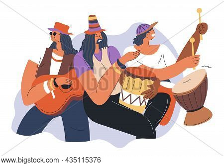 Reggae Music Band Musicians With Drums And Ukulele