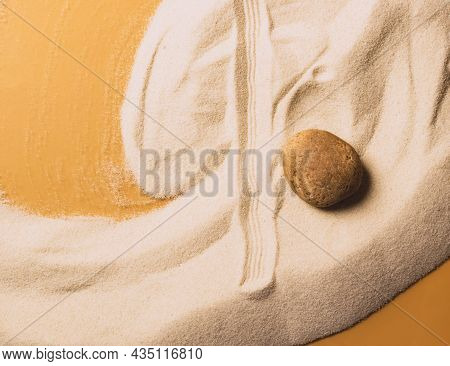 Beach Sand Sand Wave Pattern Stone Zen. Abstract Sand Texture. The Concept Of Spiritual Harmony Of B