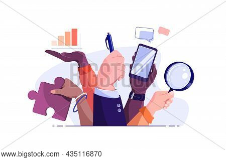 Peoples Hands Holding Different Tools Vector Illustration. Clerks And Equipments For Work Flat Style