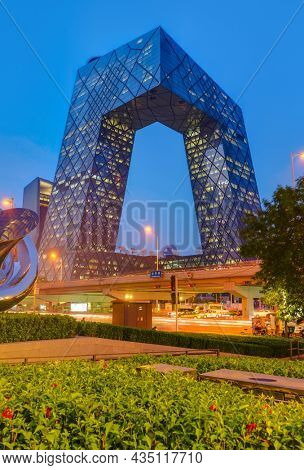 Beijing, China - May 14, 2018: CCTV Pants Building China World Trade Center in Business District.