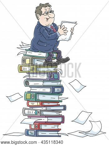 Fat Clerk At His Office Sitting On A Big Stack Of Folders With Documents, Vector Cartoon Illustratio