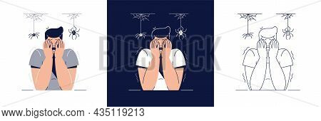 Phobia, Irrational Fears Vector Illustration Set. Scared Man Character With Hands On The Face Is Afr