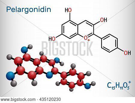 Pelargonidin Molecule. It Is Anthocyanidin Cation, Plant Pigment, Orange Color. Structural Chemical