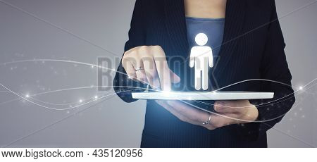 Hr Human Resources Recruitment Employment. White Tablet In Businesswoman Hand With Digital Hologram