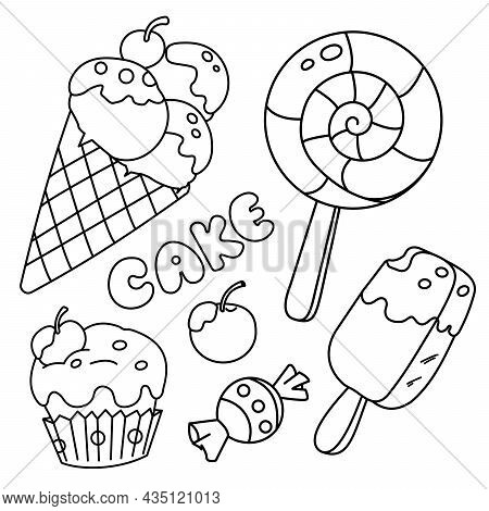Coloring Page Outline Of Candy, Ice Cream And Cupcake. Food And Sweetness. Coloring Book For Kids