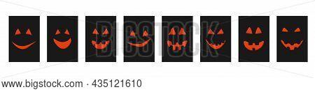 Halloween Orange Pumpkin Face Jack-o-lantern On Cards.