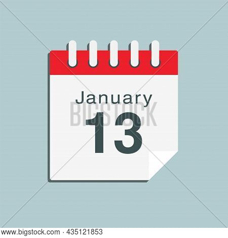 Icon Day Date 13 January, Template Calendar Page