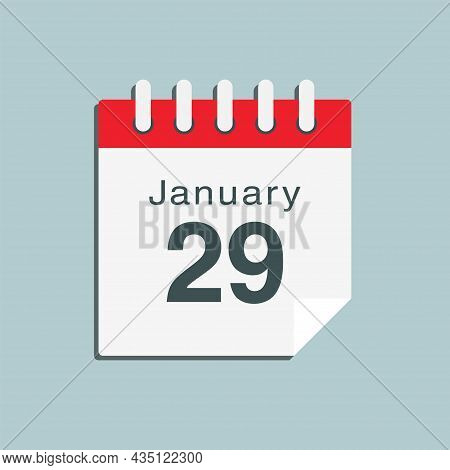 Icon Day Date 29 January, Template Calendar Page