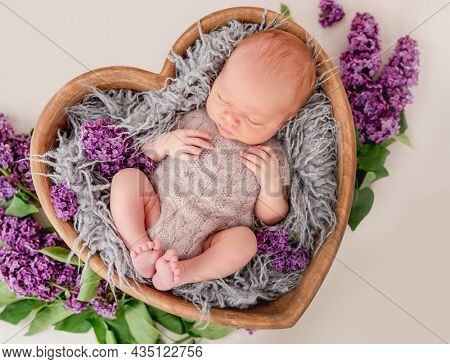 Newborn baby boy wearing knitted beige costume lying in wooden heart shape bed with purple flowers decoration and sleeping. Adorable infant child napping
