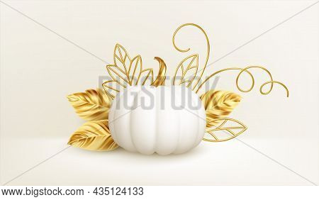 3d Realistic White Golden Pumpkin With Golden Leaves, Curls Isolated On White Background. Thanksgivi