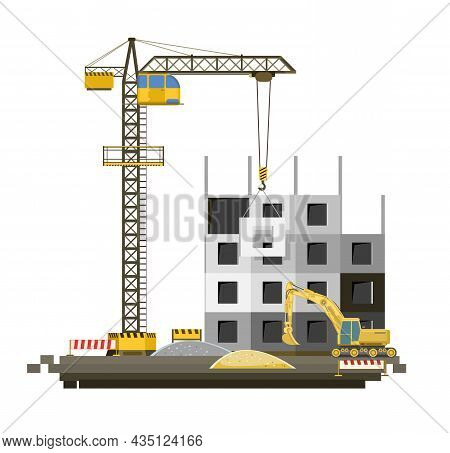 Construction Of Large City Buildings. Residential Houses And Industrial Objects. Lifting Crane. Mode