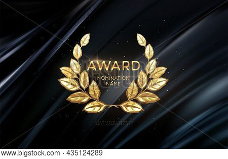 3d Realistic Gold Laurel Wreath Winner Award Nominations Background. Award Concept Background. Vecto