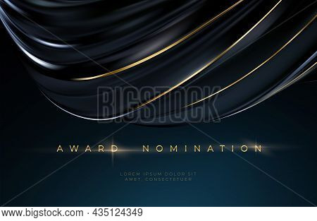 Awards Ceremony Luxurious Black Wavy Background With Golden Text. Black Silk Luxury Background. Vect