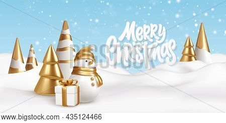 Merry Christmas Background With Snow Drifts Landscape, Snowman, Gift And Christmas Trees. Gold And W