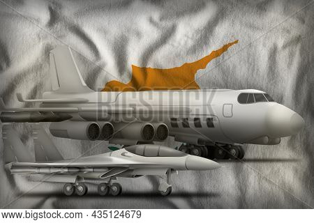 Air Forces On The Cyprus Flag Background. Cyprus Air Forces Concept. 3d Illustration
