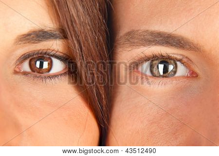 Closeup Young Couple With Beautiful Eyes