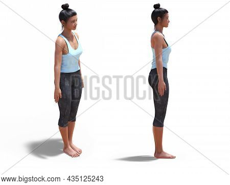 3d Illustration Of Front Three-quarters And Right Profile Poses Of A 3d Woman In Yoga Mountain Pose