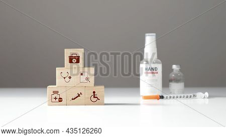 The Medical Icon On Wooden Cube Block And Medicine Good Health Care Concept And Planning For Self An