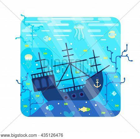 Vector Cartoon Illustration With Sunken Ship On Seabed