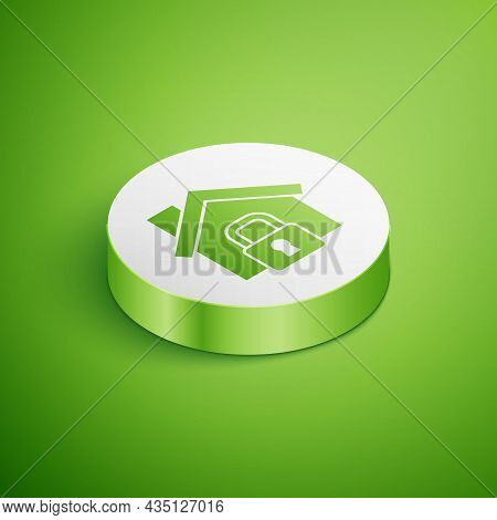 Isometric House Under Protection Icon Isolated On Green Background. Home And Lock. Protection, Safet