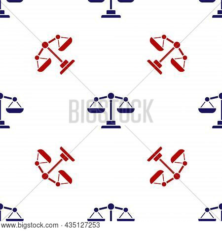 Blue And Red Scales Of Justice Icon Isolated Seamless Pattern On White Background. Court Of Law Symb