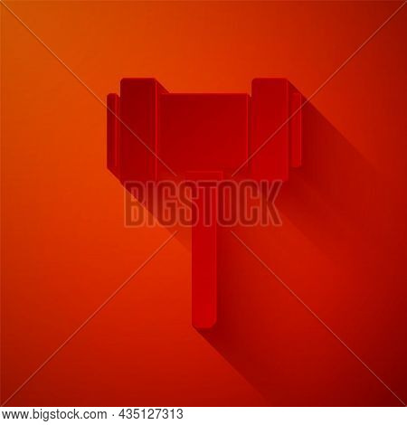 Paper Cut Judge Gavel Icon Isolated On Red Background. Gavel For Adjudication Of Sentences And Bills