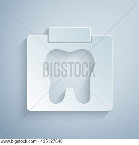 Paper Cut X-ray Of Tooth Icon Isolated On Grey Background. Dental X-ray. Radiology Image. Paper Art