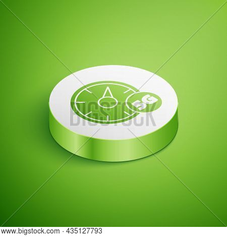Isometric Digital Speed Meter Concept With 5g Icon Isolated On Green Background. Global Network High