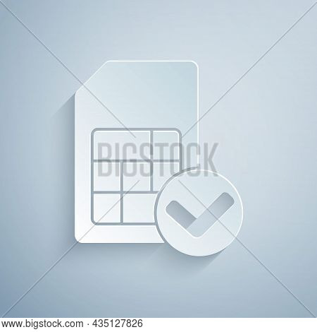 Paper Cut Sim Card Icon Isolated On Grey Background. Mobile Cellular Phone Sim Card Chip. Mobile Tel