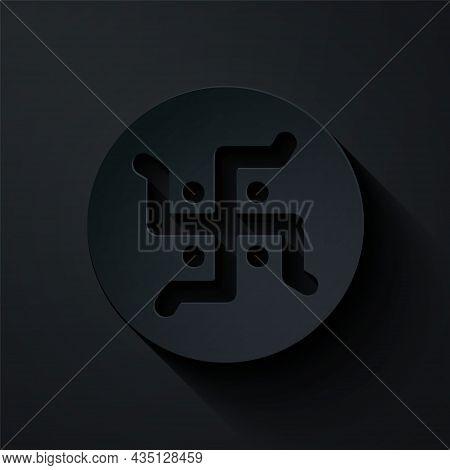 Paper Cut Hindu Swastika Religious Symbol Icon Isolated On Black Background. Paper Art Style. Vector