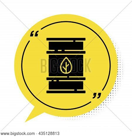 Black Bio Fuel Barrel Icon Isolated On White Background. Eco Bio And Canister. Green Environment And
