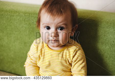 Small Baby On Couch Looking At Camera For Lifestyle Design. Baby Siting At Home. Family Care. Funny