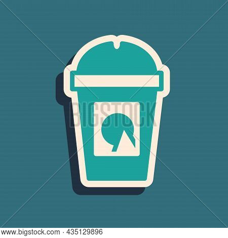 Green Coffee Cup To Go Icon Isolated On Green Background. Take Away Print. Long Shadow Style. Vector
