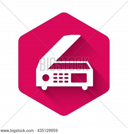 White Scanner Icon Isolated With Long Shadow. Scan Document, Paper Copy, Print Office Scanner. Pink