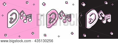 Set Ear Listen Sound Signal Icon Isolated On Pink And White, Black Background. Ear Hearing. Vector