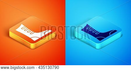 Isometric Sport Boxing Shoes Icon Isolated On Orange And Blue Background. Wrestling Shoes. Vector