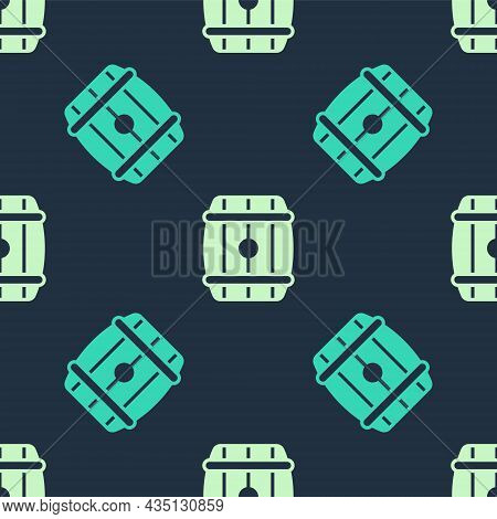 Green And Beige Wooden Barrel Icon Isolated Seamless Pattern On Blue Background. Alcohol Barrel, Dri