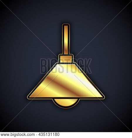 Gold Lamp Hanging Icon Isolated On Black Background. Ceiling Lamp Light Bulb. Vector