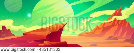 Mars Landscape, Alien Planet Background, Red Desert Surface With Mountains, Saturn And Stars Shine O