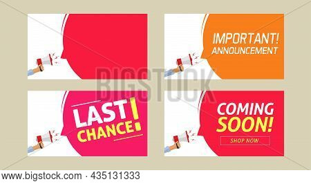 Important Announcement Info Message, Last Chance And Coming Soon Warning Alert Notice With Copy Spac