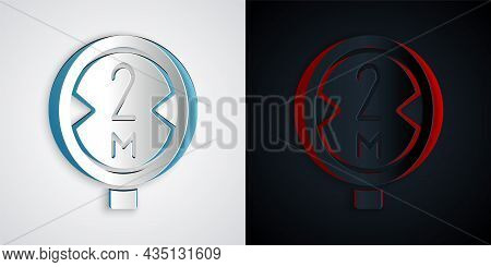 Paper Cut Road Traffic Sign. Signpost Icon Isolated On Grey And Black Background. Pointer Symbol. Is