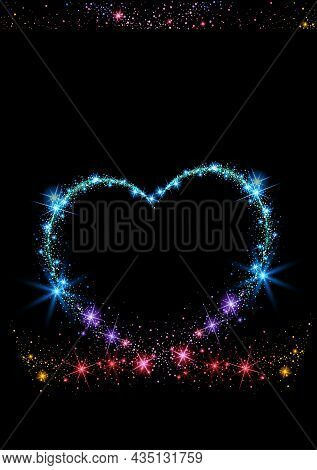 Colorful Sparkling Heart On Black Background - Abstract Illustration, Vector