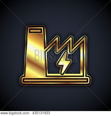 Gold Nuclear Power Plant Icon Isolated On Black Background. Energy Industrial Concept. Vector